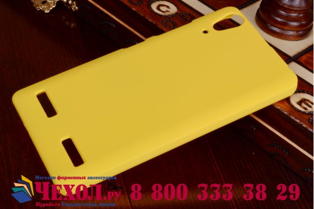Фирменная задняя панель-крышка-накладка из тончайшего и прочного пластика для Lenovo K3 Music Lemon желтая