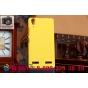 Фирменная задняя панель-крышка-накладка из тончайшего и прочного пластика для Lenovo K3 Music Lemon желтая..