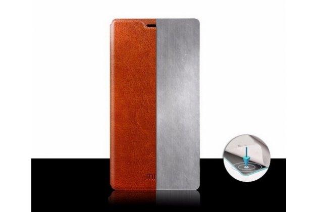 Фирменный чехол-книжка из качественной водоотталкивающей импортной кожи на жёсткой металлической основе для Lenovo K80/P90/P90 Pro коричневый