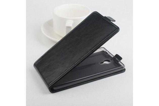 Фирменный оригинальный вертикальный откидной чехол-флип для Lenovo K80/P90/P90 Pro черный кожаный