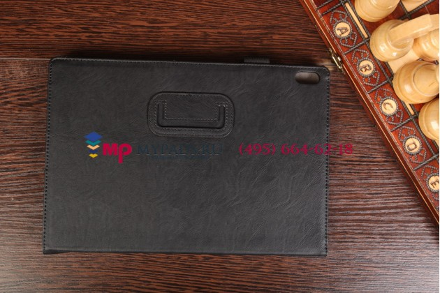 """Фирменный чехол обложка для Lenovo Ideatab A7600/A10-70 с визитницей и держателем для руки черный натуральная кожа """"Prestige"""" Италия"""