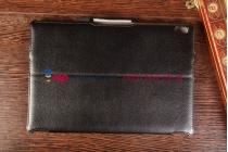 """Фирменный чехол для Lenovo Ideatab A7600/A10-70 (59409691) с мульти-подставкой и держателем для руки черный натуральная кожа """"Deluxe"""" Италия"""