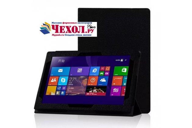 Фирменный чехол-футляр-книжка для Lenovo MIIX 3 10.1 / Miix3 1030 черный кожаный