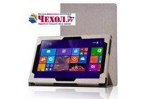 Фирменный чехол-футляр-книжка для Lenovo MIIX 3 10.1 / Miix3 1030 золотой кожаный