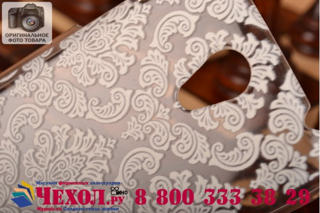 Фирменная роскошная задняя панель-чехол-накладка с расписным узором для Lenovo S650 прозрачная белая