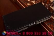 Фирменный чехол-книжка из качественной импортной кожи с подставкой застёжкой и визитницей для Леново Эс860 черный