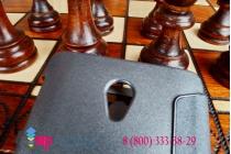 Фирменный оригинальный чехол-книжка для Lenovo S860 черный кожаный с окошком для входящих вызовов