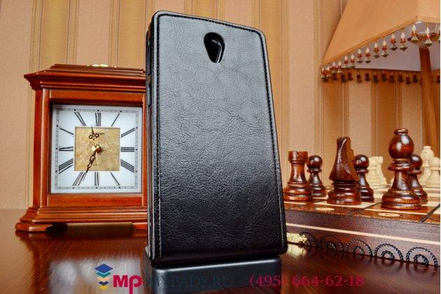 """Фирменный оригинальный вертикальный откидной чехол-флип для Lenovo S860 черный из качественной импортной кожи """"Prestige"""" Италия"""