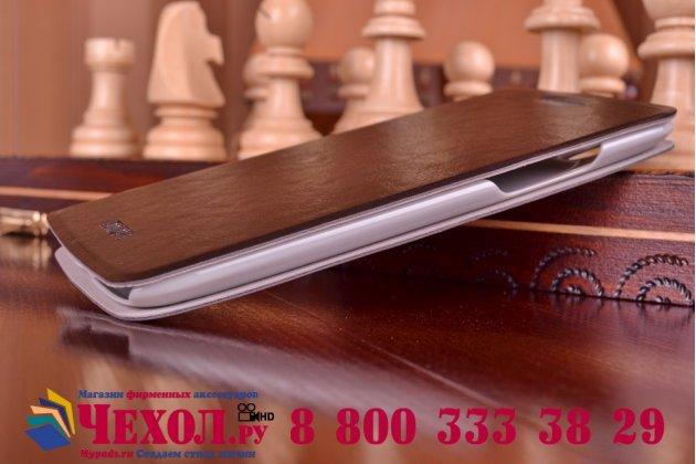 Фирменный чехол-книжка из качественной водоотталкивающей импортной кожи на жёсткой металлической основе для Lenovo S960 Vibe X черный