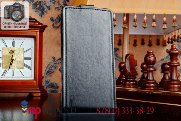 """Фирменный оригинальный вертикальный откидной чехол-флип для Lenovo S960 Vibe X черный кожаный """"Prestige"""" Италия"""