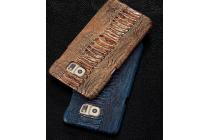 Фирменная элегантная экзотическая задняя панель-крышка с фактурной отделкой натуральной кожи крокодила кофейного цвета для Lenovo Sisley S90 (S90-T). Только в нашем магазине. Количество ограничено.