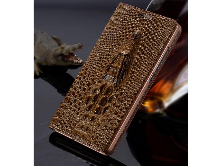 Фирменный роскошный эксклюзивный чехол с объёмным 3D изображением кожи крокодила коричневый для Lenovo Sisley ..