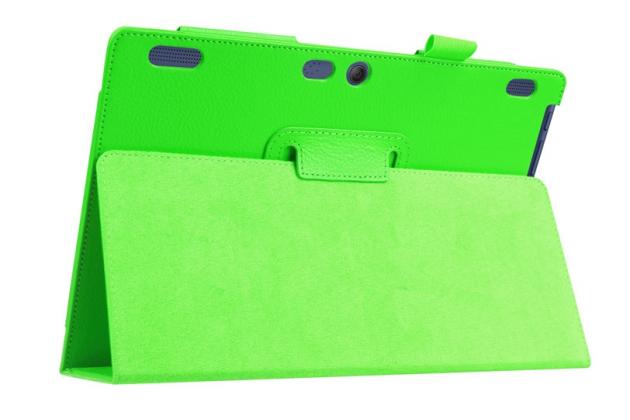 Чехол для Lenovo Tab 2 A10-30 / A10-30L / ZA0D0048RU / ZA0D0053RU /TAB 2 X30 16GB LTE / TB2-X30L  зеленый кожаный