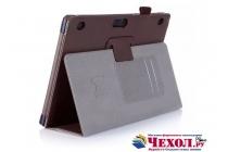 """Фирменный чехол бизнес класса для Lenovo Tab 2 A10-70L / A10-70F (MediaTek MT8732/10.1"""" IPS 1920*1200) с визитницей и держателем для руки коричневый натуральная кожа """"Prestige"""" Италия"""