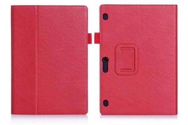 """Фирменный чехол бизнес класса для Lenovo Tab 2 A10-70L / A10-70F (MediaTek MT8732/10.1"""" IPS 1920*1200) с визитницей и держателем для руки красный натуральная кожа """"Prestige"""" Италия"""