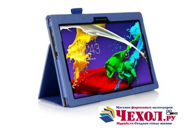 """Фирменный чехол бизнес класса для Lenovo Tab 2 A10-70L / A10-70F (MediaTek MT8732/10.1"""" IPS 1920*1200) с визитницей и держателем для руки синий натуральная кожа """"Prestige"""" Италия"""