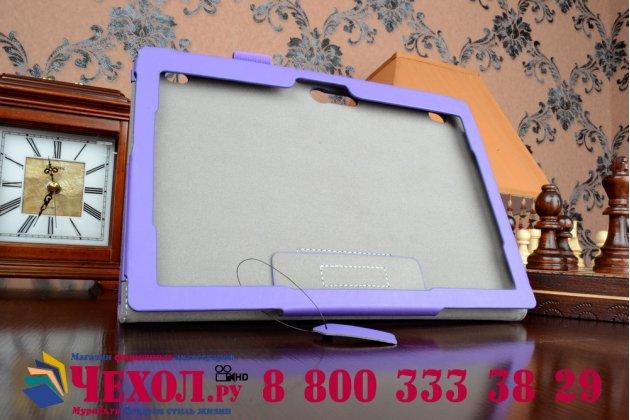 """Фирменный чехол бизнес класса для Lenovo Tab 2 A10-70L (MediaTek MT8732/10.1"""" IPS 1920*1200) / TAB 2 A10-70F с визитницей и держателем для руки фиолетовый натуральная кожа """"Prestige"""" Италия"""