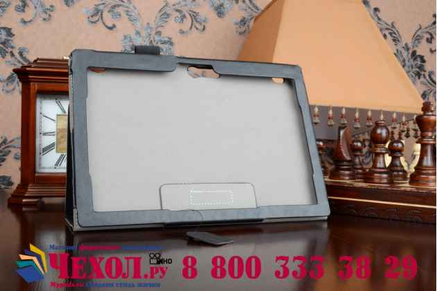 """Фирменный чехол бизнес класса для Lenovo Tab 2 A10-70L (MediaTek MT8732/10.1"""" IPS 1920*1200) / TAB 2 A10-70F с визитницей и держателем для руки черный натуральная кожа """"Prestige"""" Италия"""