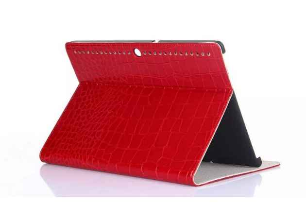 Фирменный чехол для Lenovo TAB 2 A10-70F / Tab 2 A10-70L лаковая кожа крокодила красный