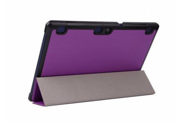 """Фирменный умный чехол-книжка самый тонкий в мире для Lenovo Tab 2 A10-70L / A10-70F (MediaTek MT8732/10.1"""" IPS 1920*1200) """"Il Sottile"""" фиолетовый кожаный"""
