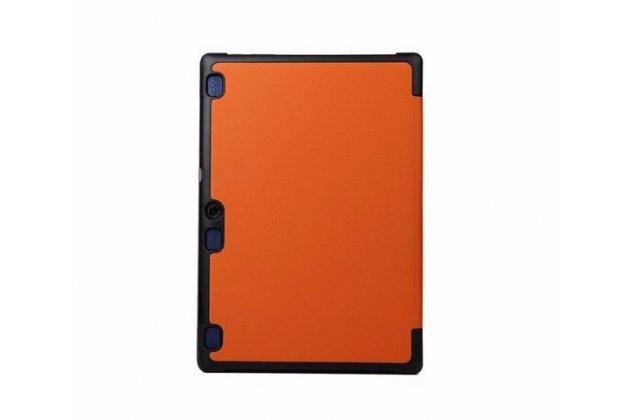 """Фирменный умный чехол-книжка самый тонкий в мире для Lenovo Tab 2 A10-70L / A10-70F (MediaTek MT8732/10.1"""" IPS 1920*1200) """"Il Sottile"""" оранжевый кожаный"""