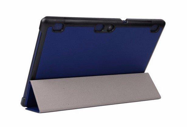 """Фирменный умный чехол-книжка самый тонкий в мире для Lenovo Tab 2 A10-70L / A10-70F (MediaTek MT8732/10.1"""" IPS 1920*1200) """"Il Sottile"""" синий кожаный"""