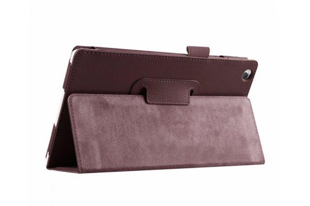 Фирменный оригинальный чехол обложка с подставкой для Lenovo Tab 2 A8-50F/ A8-50L / A8-50LC/Tab 3 TB3-850F/850M LTE коричневый кожаный