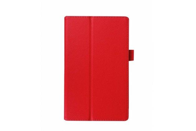 Фирменный оригинальный чехол обложка с подставкой для Lenovo Tab 2 A8-50F/ A8-50L / A8-50LC/Tab 3 TB3-850F/850M LTE красный кожаный
