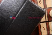 """Фирменный чехол для Lenovo Thinkpad 8 дюймов с мульти-подставкой и держателем для руки черный натуральная кожа """"Deluxe"""" Италия"""