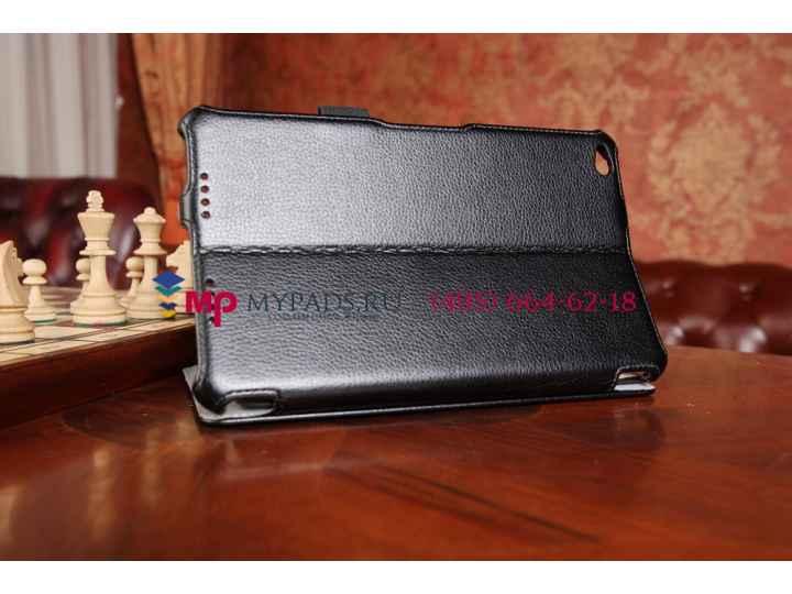Фирменный чехол для Lenovo Thinkpad 8 дюймов с мульти-подставкой и держателем для руки черный натуральная кожа..