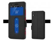 Фирменный чехол-книжка для Lenovo Vibe Shot Z90/Z90-3/Z90-7/Z90-A40/Z90A40 LTE 5.0 черный с окошком для входящ..