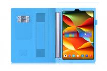 "Фирменный чехол бизнес класса для Lenovo YOGA Tablet 3 Pro 10 (YT3-X90F/X90L/ 10.1"" Windows 10) с проэктором с визитницей и держателем для руки голубой ""Prestige"" Италия"