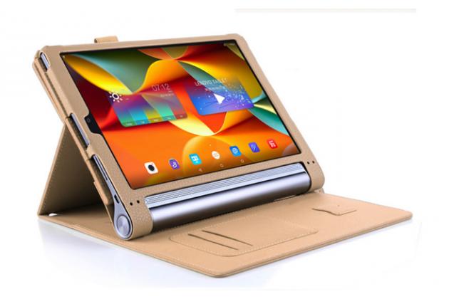 """Фирменный чехол бизнес класса для Lenovo YOGA Tablet 3 Pro 10 (YT3-X90F/X90L/ 10.1"""" Windows 10) с проэктором с визитницей и держателем для руки золотой """"Prestige"""" Италия"""