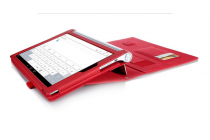 """Фирменный чехол бизнес класса для Lenovo YOGA Tablet 3 Pro 10 (YT3-X90F/X90L/ 10.1"""" Windows 10) с проэктором с визитницей и держателем для руки красный """"Prestige"""" Италия"""