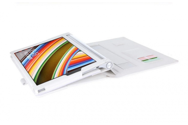"Фирменный чехол бизнес класса для Lenovo YOGA Tablet 3 Pro 10 (YT3-X90F/X90L/ 10.1"" Windows 10) с проэктором с визитницей и держателем для руки белый ""Prestige"" Италия"