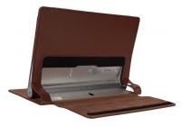 Фирменный чехол закрытого типа с отделением под аккумулятор для Lenovo Yoga Tablet 2 10.1 with windows черный кожаный