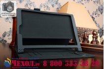 """Фирменный чехол бизнес класса для Lenovo Yoga Tablet 2 10.1 4G (1050L/1051L) с визитницей и держателем для руки черный """"Prestige"""" Италия"""