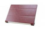 Ультратонкий фирменный чехол обложка для Lenovo Yoga Tablet 2 8.0 (830L) коричневый пластиковый