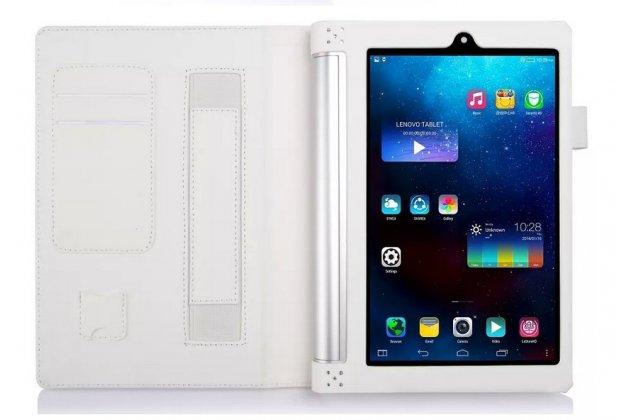 """Фирменный чехол бизнес класса для Lenovo Yoga Tablet 2 8.0 4G (830L) с визитницей и держателем для руки белый """"Prestige"""" Италия"""