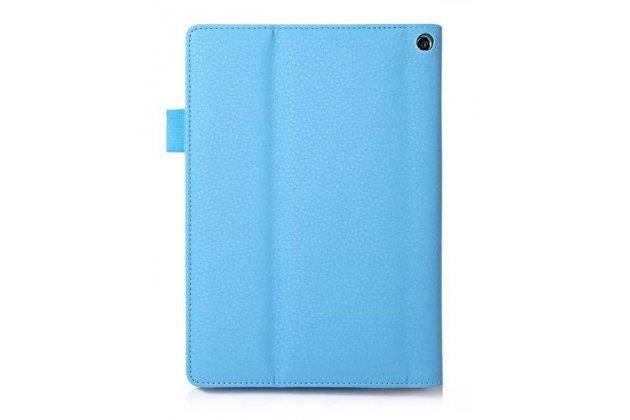 """Фирменный чехол бизнес класса для Lenovo Yoga Tablet 2 8.0 4G (830L) с визитницей и держателем для руки голубой """"Prestige"""" Италия"""