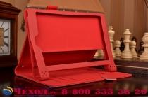 """Фирменный чехол бизнес класса для Lenovo Yoga Tablet 2 8.0 4G (830L) с визитницей и держателем для руки красный """"Prestige"""" Италия"""
