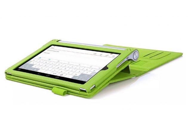 """Фирменный чехол бизнес класса для Lenovo Yoga Tablet 2 8.0 4G (830L) с визитницей и держателем для руки зелёный """"Prestige"""" Италия"""