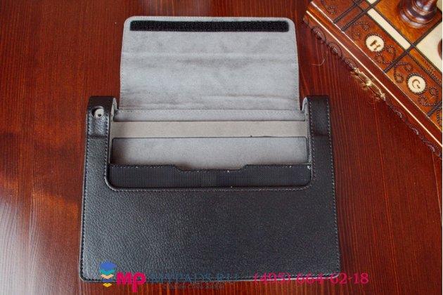 Фирменный чехол закрытого типа с отделением под аккумулятор для Lenovo Yoga Tablet 2 8.0 (830L) черный кожаный