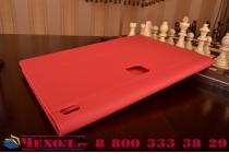 """Фирменный чехол бизнес класса для Lenovo Yoga Tablet 2 Pro 13.3"""" 1380F с визитницей и держателем для руки красный """"Prestige"""" Италия"""