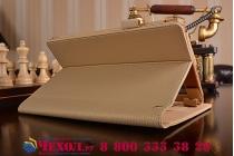 """Фирменный чехол бизнес класса для Lenovo Yoga Tablet 8 3 16Gb 4G LTE (850M / YT3-850) с визитницей и держателем для руки золотой """"Prestige"""" Италия"""