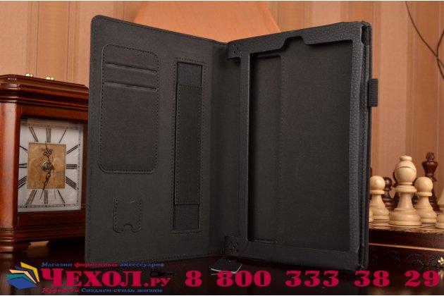 """Фирменный чехол бизнес класса для Lenovo Yoga Tablet 8 3 16Gb 4G LTE (850M / YT3-850) с визитницей и держателем для руки черный """"Prestige"""" Италия"""