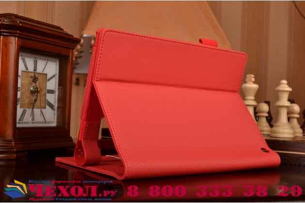 """Фирменный чехол бизнес класса для Lenovo Yoga Tablet 8 3 16Gb 4G LTE (850M / YT3-850) с визитницей и держателем для руки красный """"Prestige"""" Италия"""