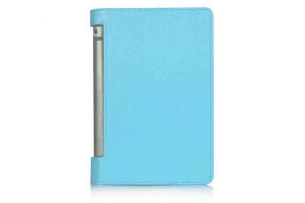 """Фирменный чехол подставка для Lenovo Yoga Tablet 3 8.0"""" (YT3-850F/ 850F) голубой кожаный"""