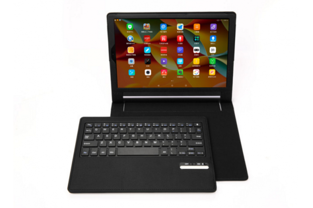 Фирменный оригинальный чехол со съёмной Bluetooth-клавиатурой для Lenovo Yoga Tablet 8 3 16Gb 4G LTE (850M / YT3-850) из качественной импортной кожи черный  + гарантия