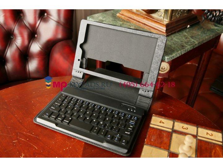 Фирменный оригинальный чехол со съёмной Bluetooth-клавиатурой для Lenovo Yoga Tablet 8 B6000 черный кожаный + ..
